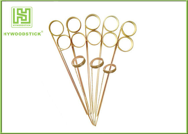 Green Ring Flat Bamboo Skewers , 9cm Biodegradable Shish Kebab Skewers For Buffet
