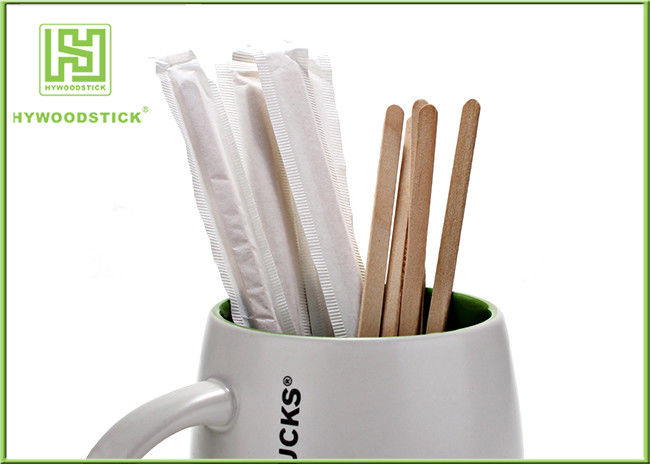 Sterile Healthy Coffee Mixer Stick , Individually Paper Sleeve Wooden Drink Stirrers