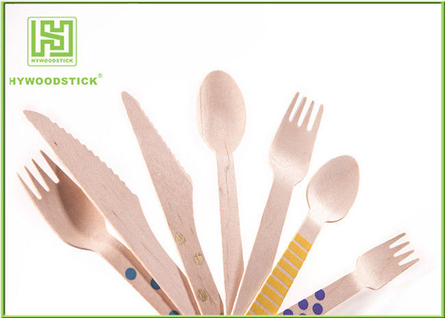 Odorless Disposable Wooden Cutlery Set , Wooden Knife And Fork Set Bulk Packing
