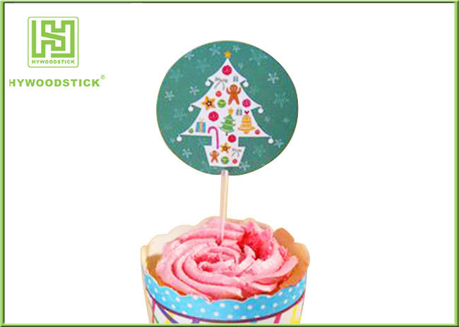 Holiday Chocolate Cake Decoration Toppers Christmas Cupcake Picks CMYK Colors
