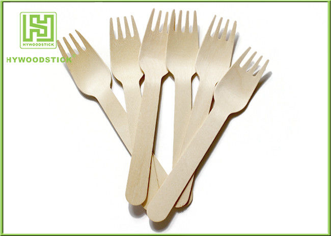 Wooden Biodegradable Disposable Cutlery Forks For Picnic Take out Food
